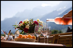 Eat alfresco with beautiful view of Mont-Blanc